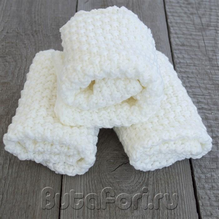Белый вязаный коврик для фотосессии