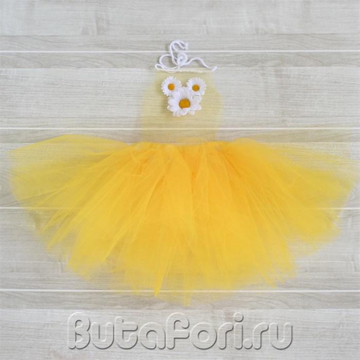 Желтый сарафан для фотосессии новорожденной