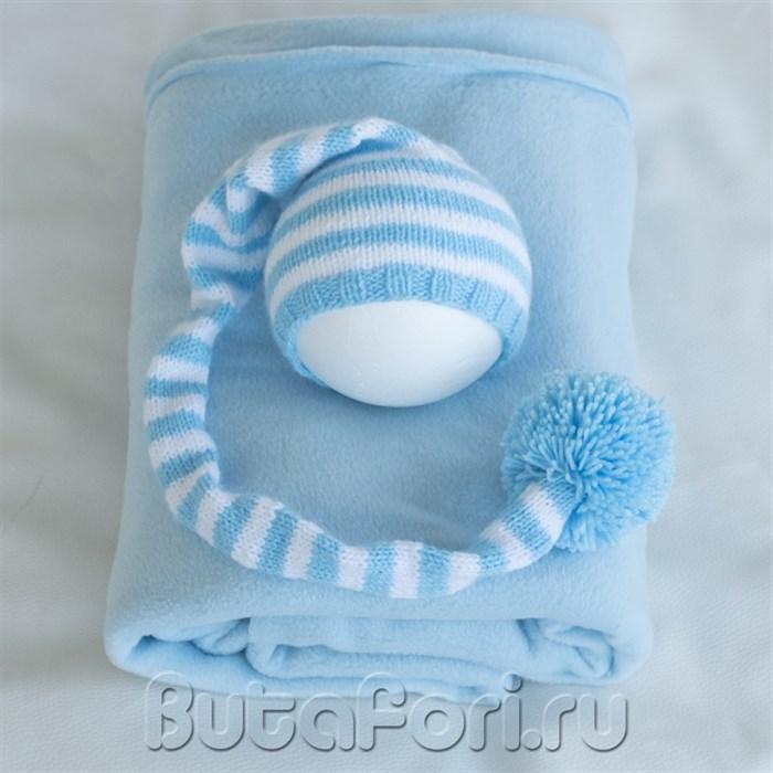 Голубой колпак и фон для фотосессии новорожденных