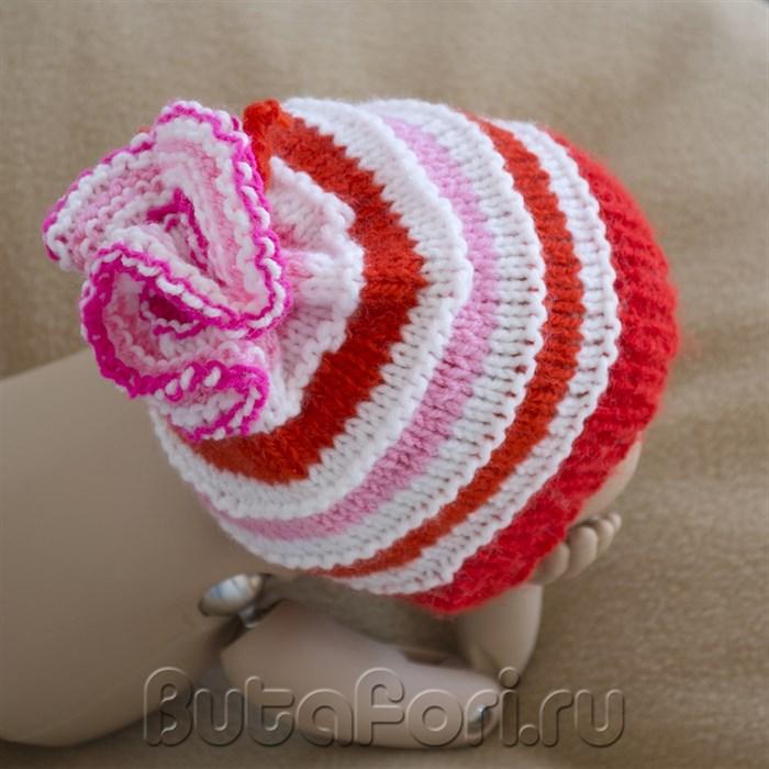 Вязаная шапочка карамелька для фотосессии новорожденных