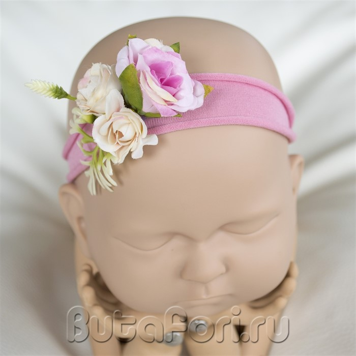 Повязочка на голову новорожденной Фловер