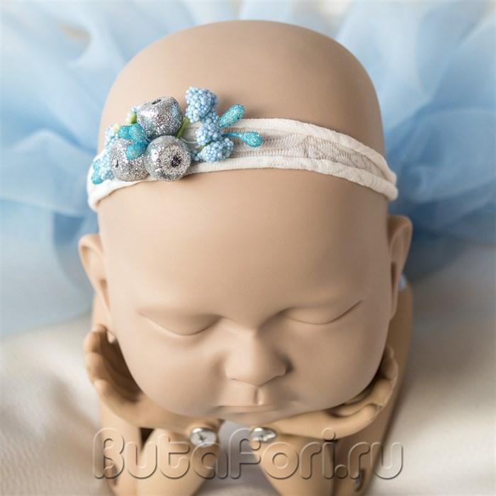 """Повязочка """"Серебро"""" для фотосессии новорожденной"""