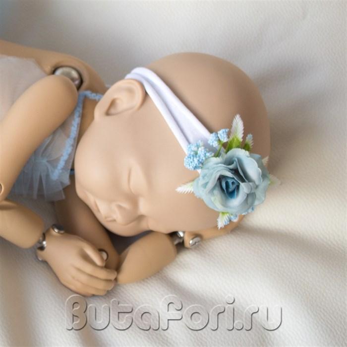"""Повязочка """"Голубая роза"""" на голову новорожденной"""