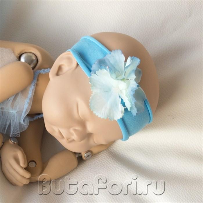 """Повязочка для фотосессии новорожденной """"голубая гортензия"""""""