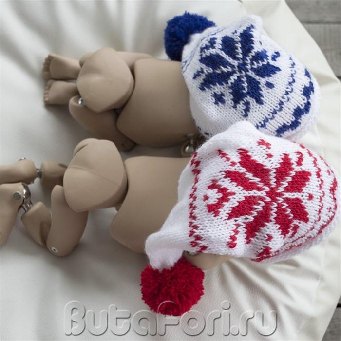 Шапочки близнецов для новогодней фотосессии новорожденных