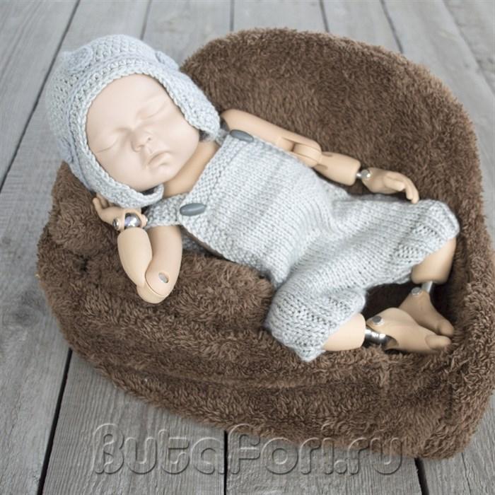 Богатырский вязаный костюмчик для фотосессии новорожденных
