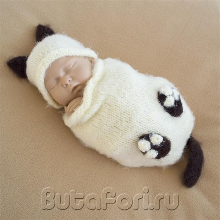 Вязаный костюмчик Котенка для фотосессии новорожденного