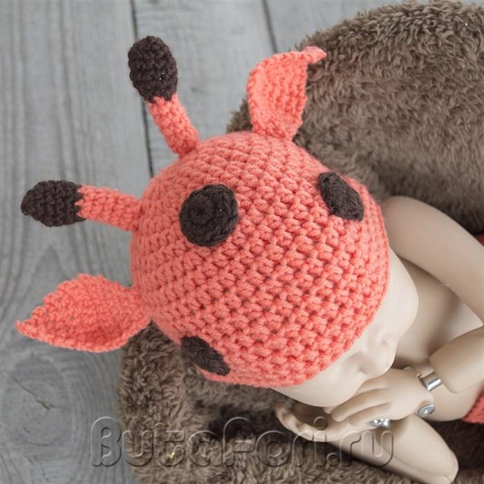 Шапочка жирафика на голову младенца для фотосессии