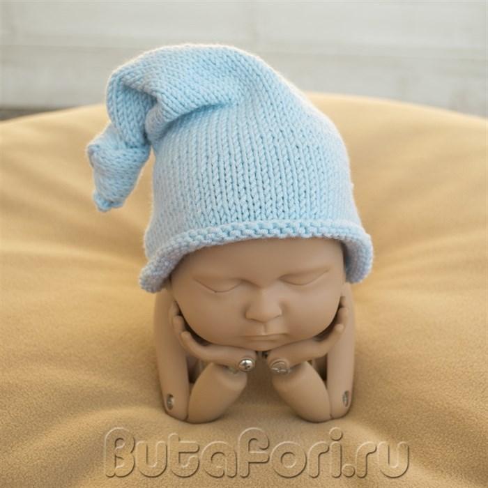 Аксессуар для фотосессии новорожденных - голубая шапочка