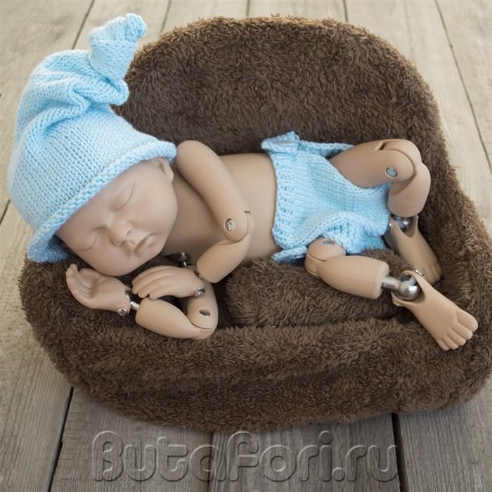Вязаный голубой костюмчик для фотосессии новорожденных