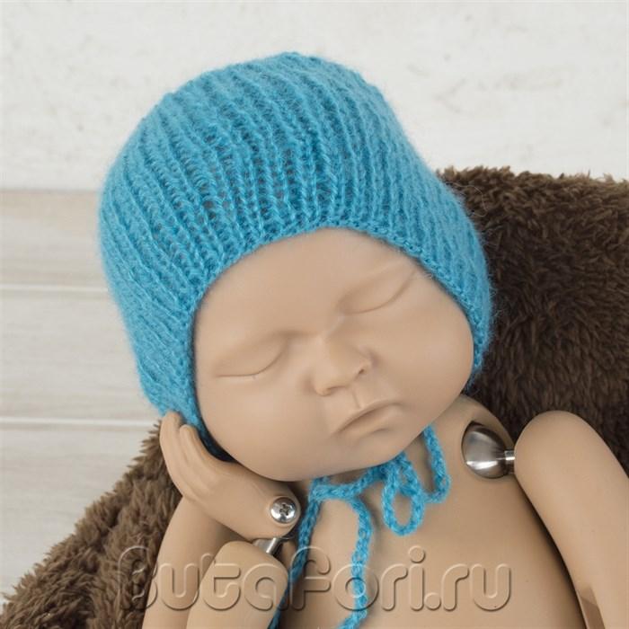 Реквизит для фотосессии новорожденных - Голубой чепчик