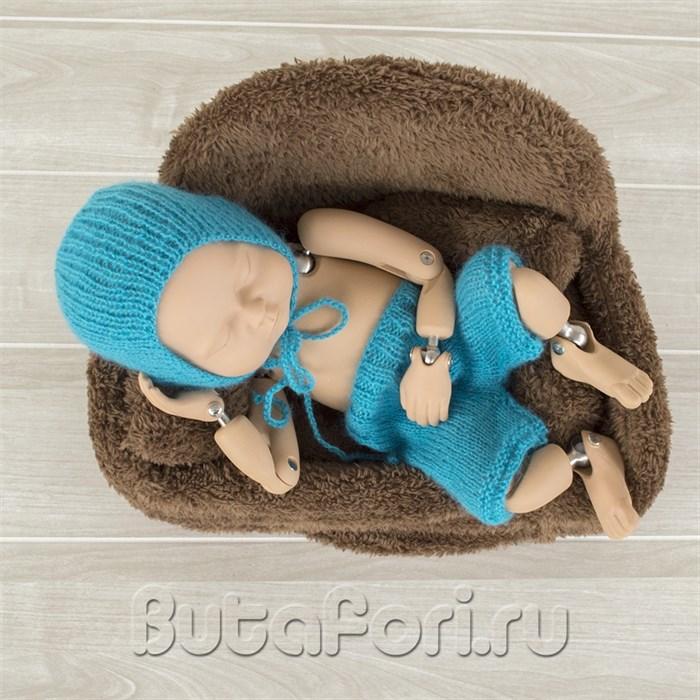 Комплект для фотосессии - голубая шапочка и штанишки