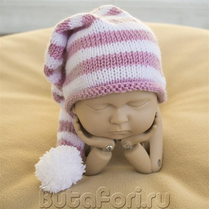 Полосатый колпачок с помпоном для младенца