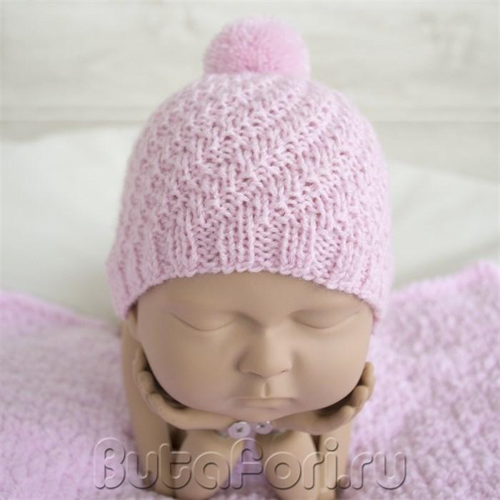 Вязаная шапочка Зефирка для девочки