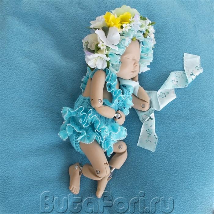 Наряд для фотосессии новорожденной - Ромпер Рюшечка и шапочка