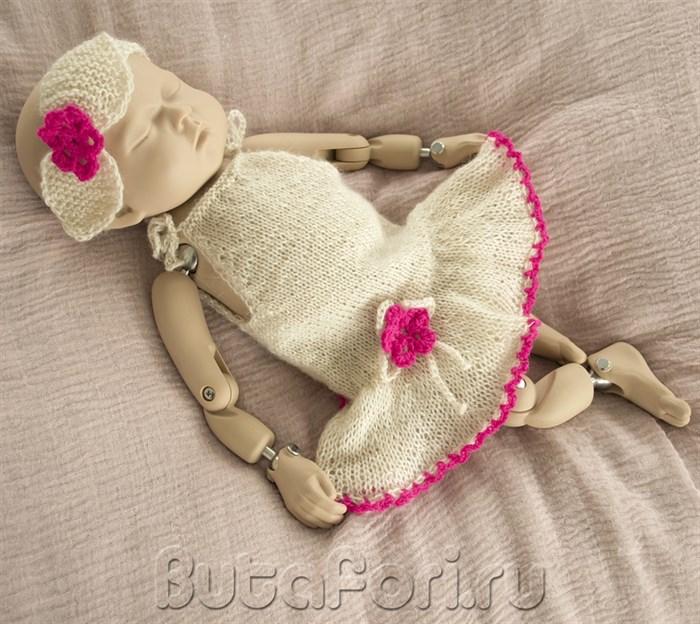 Кремовое платье для фотосессии новорожденной