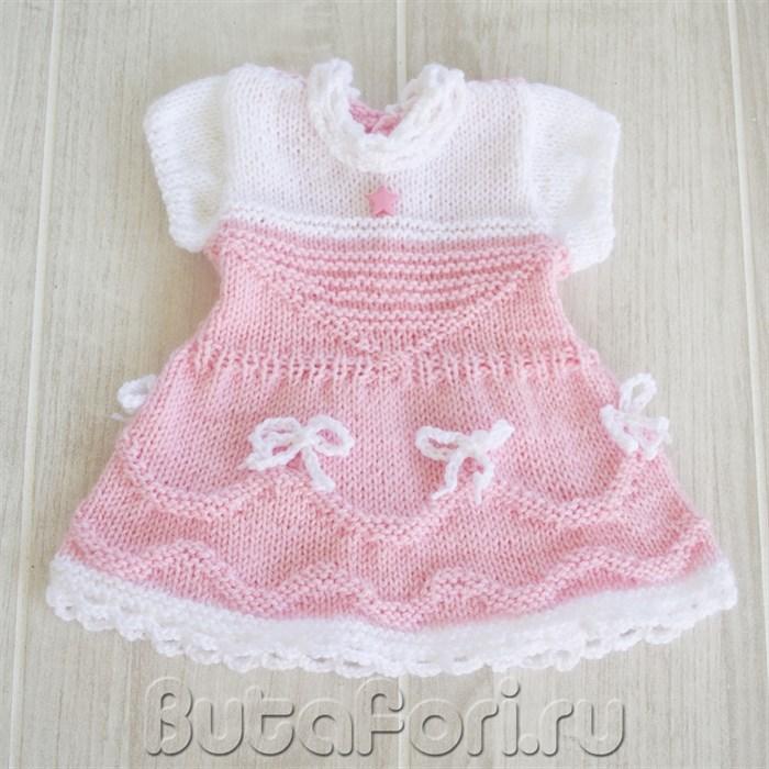 Вязаное розовое платье