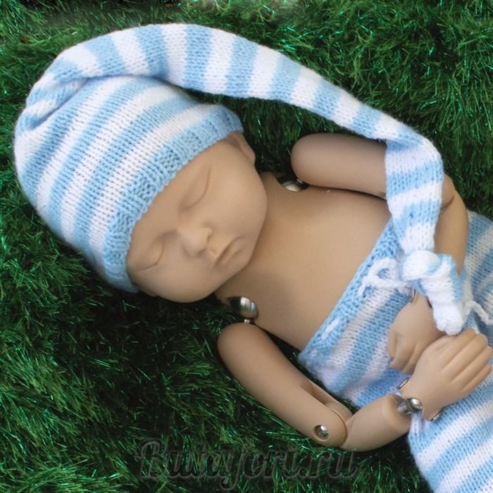 Бело-голубой колпачок для фотосессии новорожденного