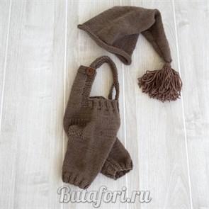 Коричневый вязаный костюм для фотосессии новорожденных