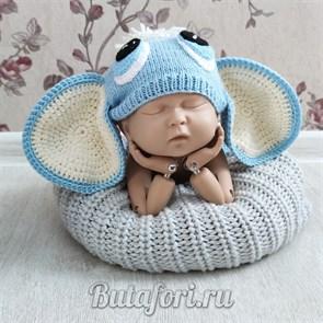 Вязаная шапочка для фотосессии новорожденных - слоненок
