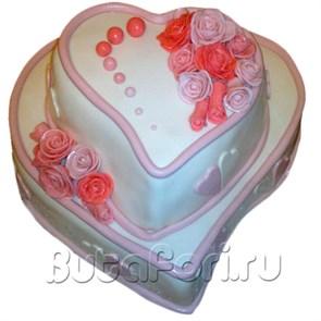 """Свадебный торт """"Розовое сердце"""""""