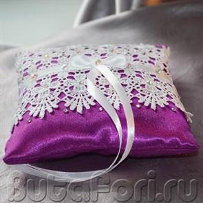 Фиолетовая подушечка для свадебных колец