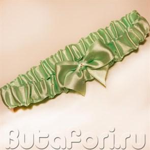 Свадебная подвязка атласная с бантиком мятного цвета