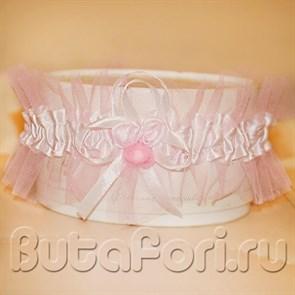 Подвязка невесты из фатина розовая