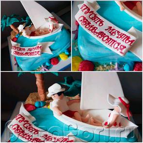 Оригинальный свадебный торт из мастики