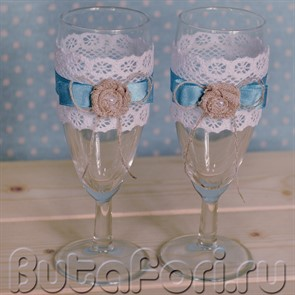 Свадебные бокалы рустик бирюза