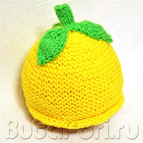 Вязаная шапочка Лимон для фотосессии новорожденных