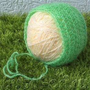 Зеленая шапочка фотосессии новорожденных