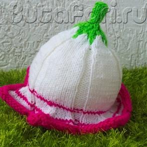 Шапочка для фотосессии новорожденных Белая лилия