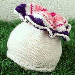 Шапочка цветочек Петуния для новорожденного