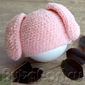 Шапочка для новорожденного Розовый Зайчик