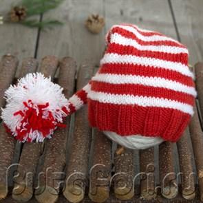 Колпачок для фотосессии новорожденных красно-белый