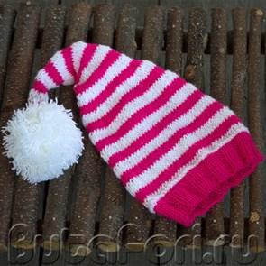 Розово-белый колпачок для новорожденного