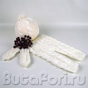 Белый вязаный костюмчик для фотосессии новорожденных