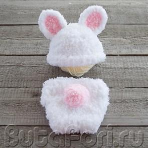 Костюм для фотосессии новорожденного Белый кролик