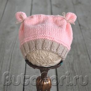 Вязаная розовая шапочка