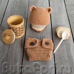 Одежда для фотосессии новорожденных - набор Бурый Мишка