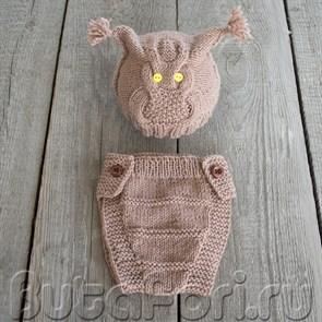 Шапочка и трусики для фотосессии новорожденного - Сова