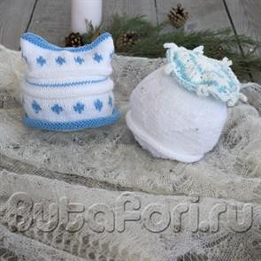 Снежные шапочки для фотосессии новорожденных