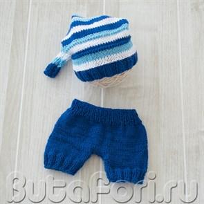 Вязаный колпачок со штанишками для мальчиков