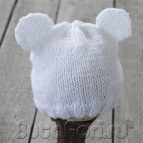 Вязаная шапочка Белый Мишка