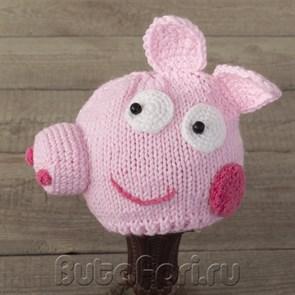 Вязаная шапочка Свинка для фотосессии новорожденных