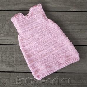 Розовый вязаный ромпер для фотосессии новорожденной