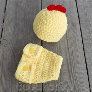 Вязаный костюмчик для фотосессии новорожденных - Цыпленочек