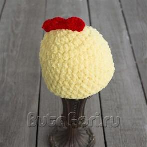 Вязаная шапочка для новорожденного - Цыпленочек