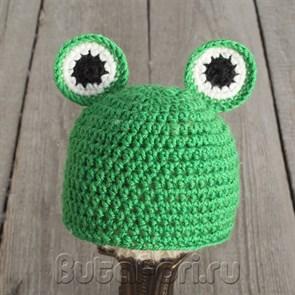 Вязаная шапочка Лягушонка для новорожденных